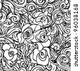 seamless pattern with black and white flowers - stock photo