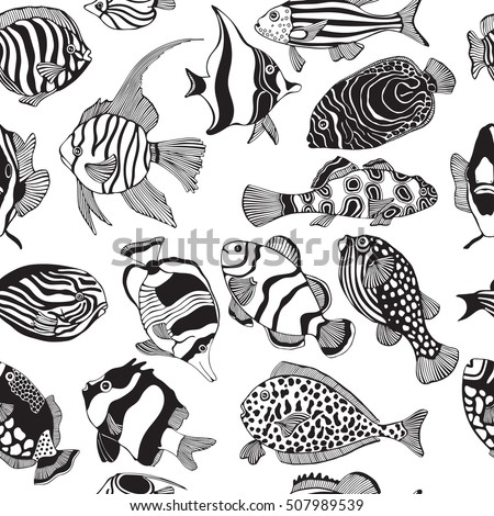 Seamless Pattern With Black And White Tropical Fish Exotic Coloring Book Page For