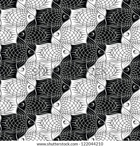 Seamless pattern with black and wight geometric fishes