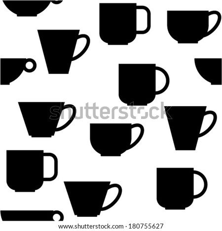 seamless pattern with black cups