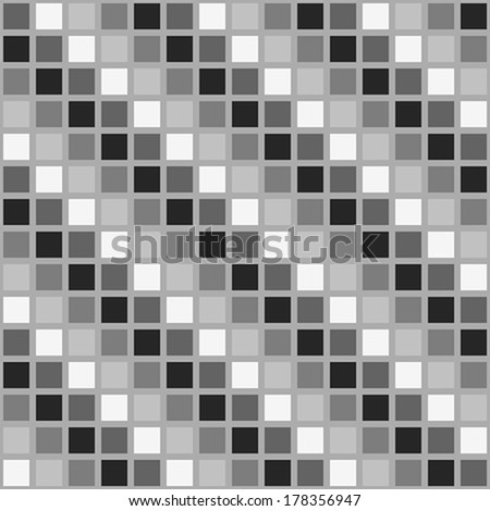 Seamless pattern with black, gray and white squares.