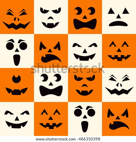 seamless pattern with black halloween pumpkins carved faces silhouettes on checkerboard background can be used - Halloween Pumpkin Carving Faces