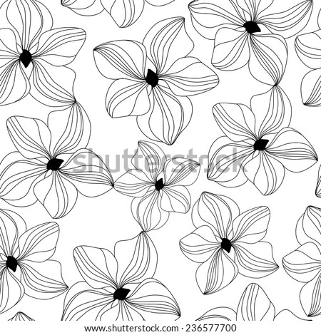 Seamless pattern with black hand drawn orchids on white background. Vector illustration for design of gift packs, wrap,  patterns fabric, wallpaper, web sites and other.  - stock vector