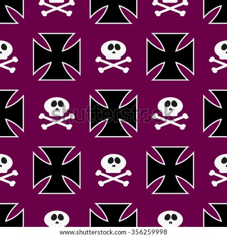 Seamless pattern with black iron cross and sculls, biker and goth theme - stock vector