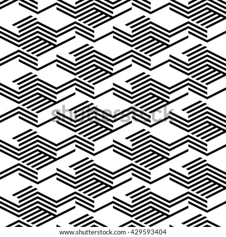 Seamless pattern with black isometric lines. Background of geometric shapes. Mosaic pattern. Modern style. Shaded texture. Simple three-dimensional ornament. Abstract graphic structure. Textile print. - stock vector