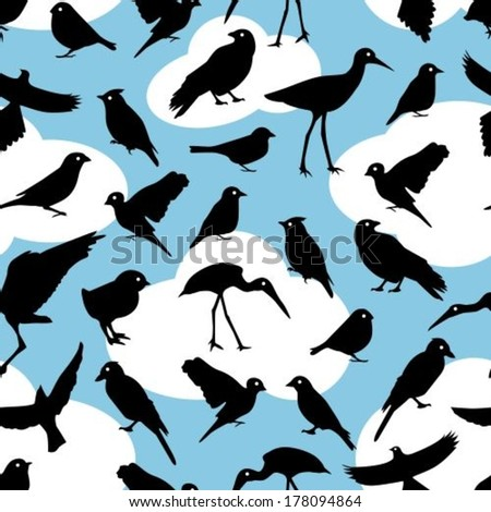 seamless pattern with black silhouettes birds on sky background  - stock vector