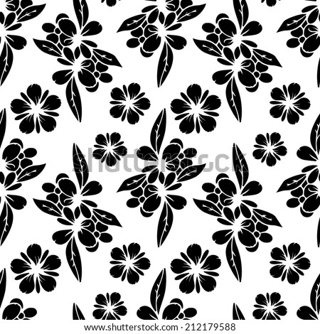Seamless pattern with black silhouettes flowers. Abstract white floral repeating background texture. Fabric design. Wallpaper - vector  - stock vector