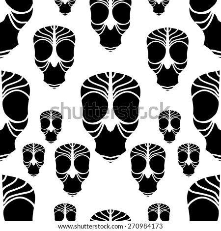 Seamless pattern with black skulls on white background.