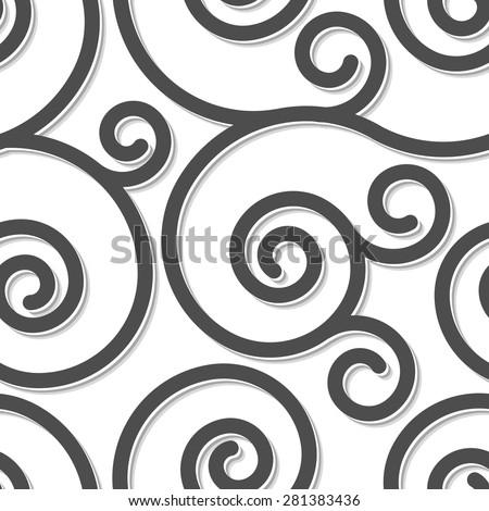 Seamless Pattern Black Swirl Ornament On Stock Vector ...