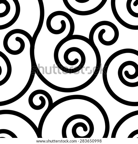 Seamless pattern with black swirl ornament on white - stock vector