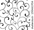 Seamless pattern with black swirls on a white background  - stock