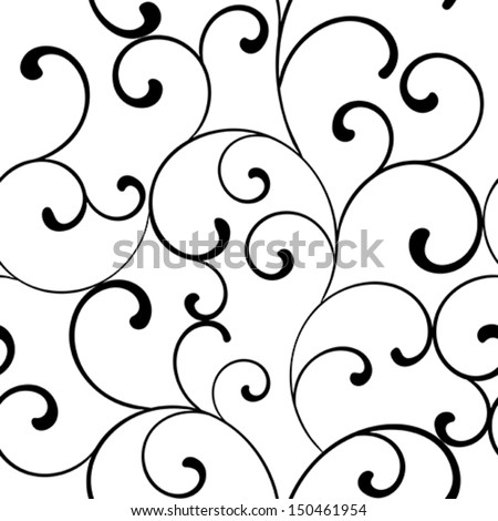 Seamless pattern with black swirls on a white background  - stock vector
