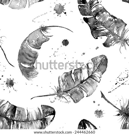 Seamless pattern with black watercolor feathers, blots and stains - stock vector