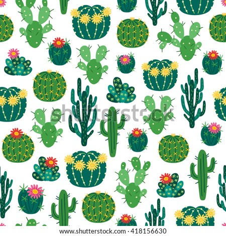 Seamless pattern with blooming cactuses on white background. Perfect for botanical books, flower shops, Mexican decorations, wallpaper, textile, web page background. Vector illustration. - stock vector
