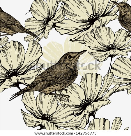 Seamless pattern with blooming flowers and singing birds, hand-drawing. Vector illustration.