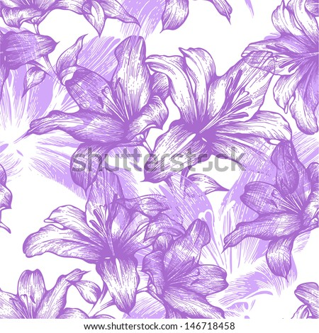 Seamless pattern with blooming lilies. Vector illustration. - stock vector