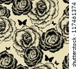 Seamless pattern with blooming roses and butterflies. Vector illustration. - stock vector