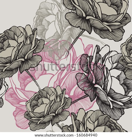 Seamless pattern with blooming roses on gray background, hand drawing. Vector illustration. - stock vector