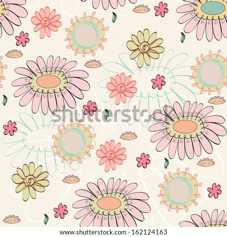 seamless pattern with  blossoming flowers.