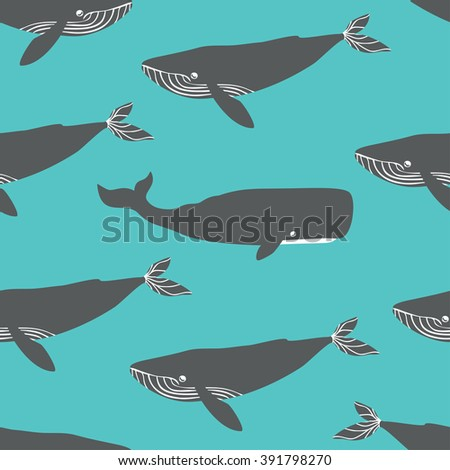 Seamless pattern with blue and sperm whales. Vector illustration. - stock vector