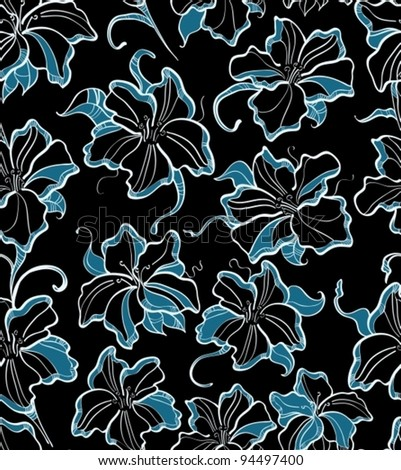 seamless pattern with blue flowers, beautiful vector  illustration