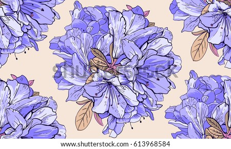 Seamless Pattern With Blue Flowers The Drawing For Light Summer Fabrics Or Wrapping Paper