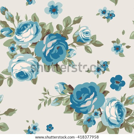 Seamless pattern with blue flowers. Vintage floral wallpaper with blooming roses - stock vector