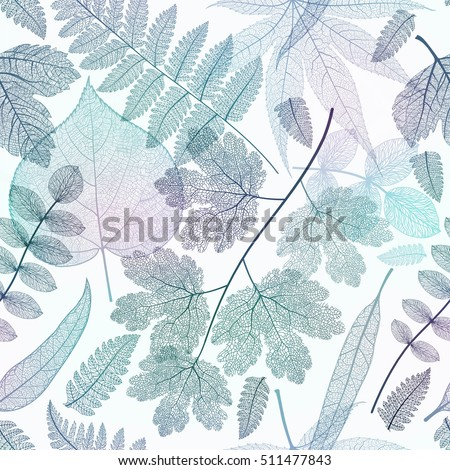 Seamless pattern with blue leaves. Vector.