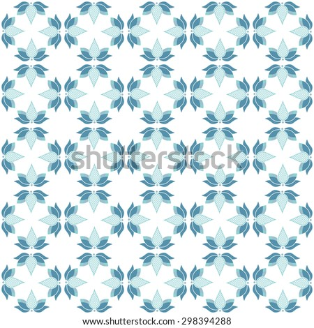 Seamless pattern with blue lotus flowers on white background - stock vector