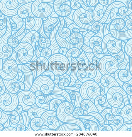 Seamless pattern with blue spiral waves on white background - stock vector