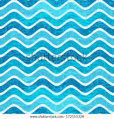 Seamless pattern with blue waves in grunge style (vector eps 10) - stock vector