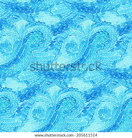 Seamless pattern with blue waves. Vector illustration. - stock vector