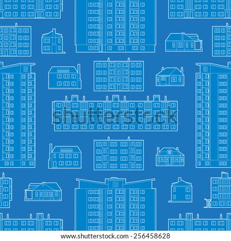 Seamless pattern with blueprint of dwelling buildings. The layout is fully editable - stock vector