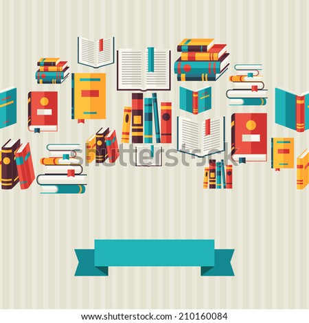 Seamless pattern with books in flat design style. - stock vector