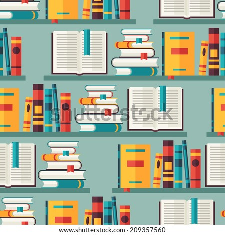 Seamless pattern with books on bookshelves in flat design style. - stock vector