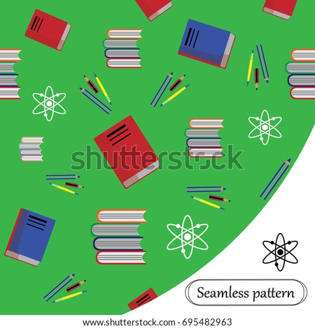 Seamless Pattern Books Pens Pencils Symbols Stock Vector 695482963
