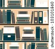 Seamless pattern with books placed on a bookshelf. - stock photo