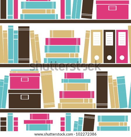 Seamless pattern with books placed on a bookshelf.