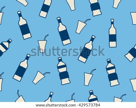Seamless pattern with bottles on a blue background. Vector illustration. - stock vector