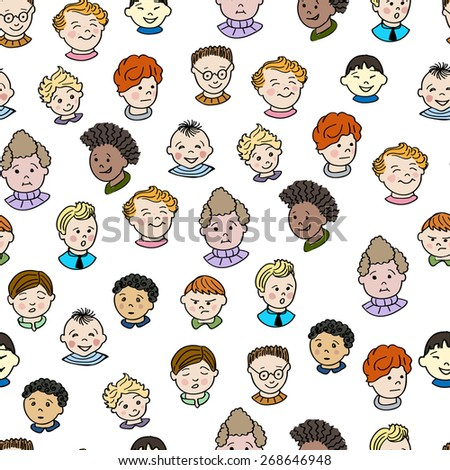 Seamless pattern with boys.