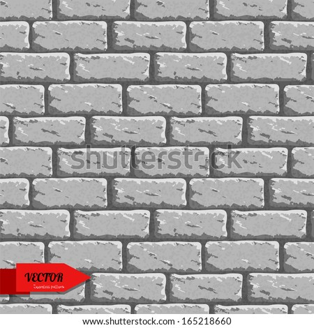 Seamless pattern with bricks. Endless grunge texture background. Wall - vector - stock vector