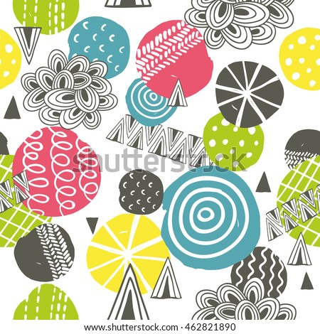 Seamless pattern with bright abstract shapes. Vector illustration.