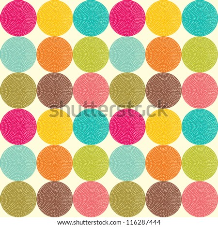 Seamless pattern with bright circles. Seamless pattern can be used for wallpaper, pattern fills, web page background, surface textures. - stock vector
