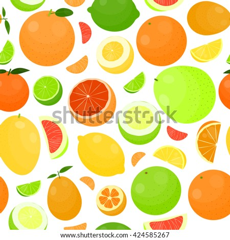 Seamless pattern with bright citrus fruits in cartoon style.
