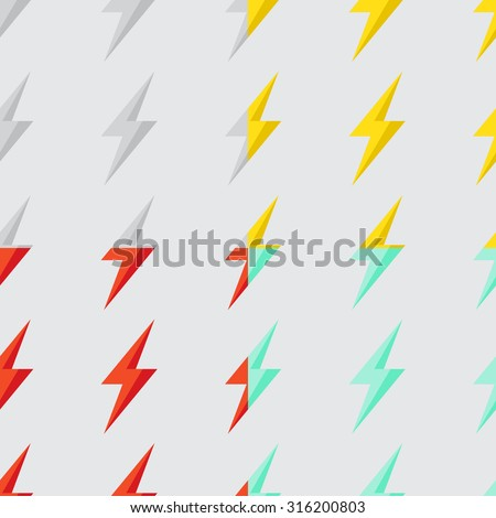 Seamless pattern with bright lightning on a light background