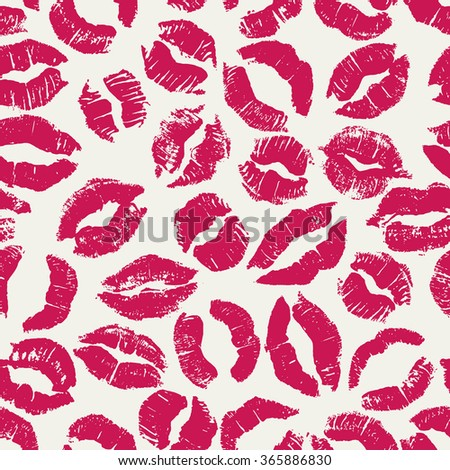 Seamless pattern with bright lipstick kisses. Different imprints of pink lipstick isolated on a white background. Can be used for design of fabric print, wrapping paper or romantic greeting card - stock vector