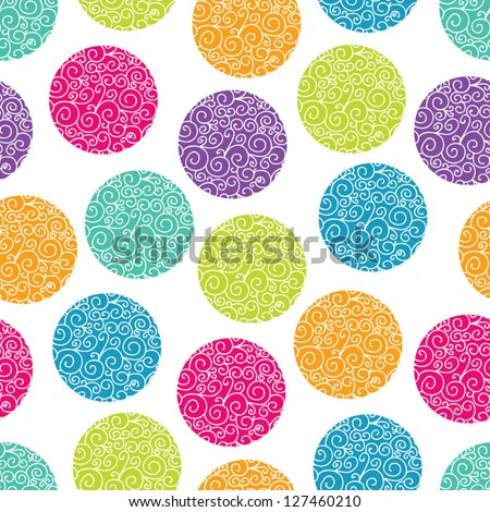 Seamless pattern with bright polka dot. Seamless pattern can be used for wallpaper, pattern fills, web page background, surface textures. - stock vector