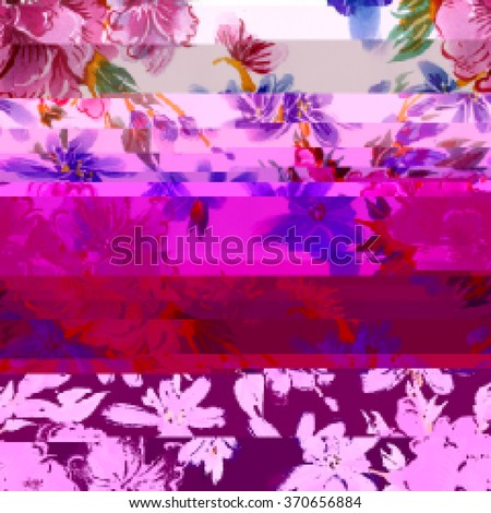 Seamless pattern with bright with flower drawing in style glitch- art. Vector illustration. - stock vector