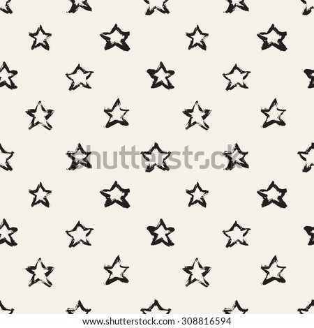 Seamless pattern with brush strokes. Casual polka dot texture. Stylish print with hand drawn stars. - stock vector