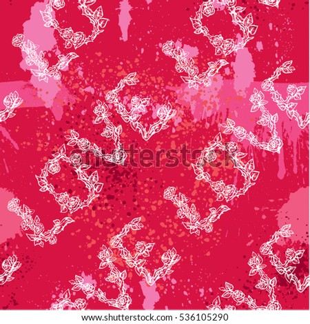 Seamless pattern with brush strokes, splashes and scribbles and word LOVE in hand drawn style with roses flowers. Valentines Day Background. Grunge elements.